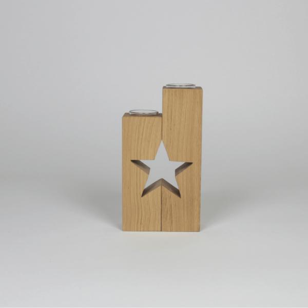 Doppelsäule Teelichthalter mit Sternausschnitt