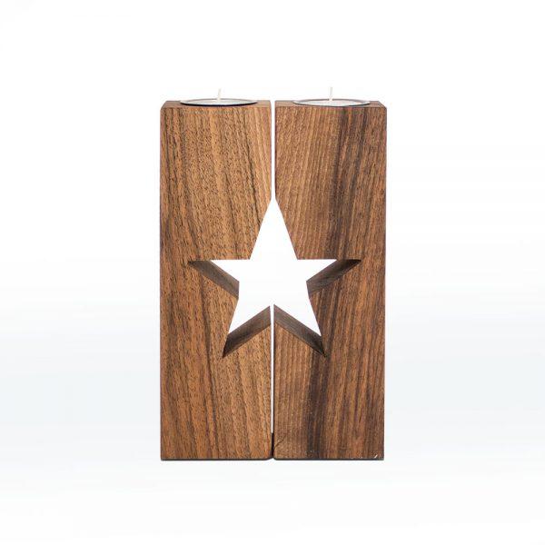 Weihnachtsdeko Stern Holz Nussbaum