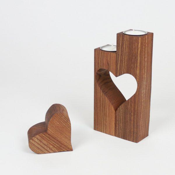Teelichthalter aus Ulmenholz Hochzeitsgeschenk aus Holz
