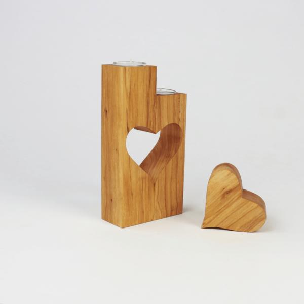 Holzherz Teelichthalter Herz ausgeschnitten