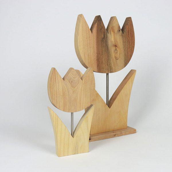 Holzdeko Tulpe Fruehlingsdeko Massivholz