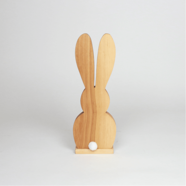 Holzdeko Hase mit Bommel Frühlingsdeko