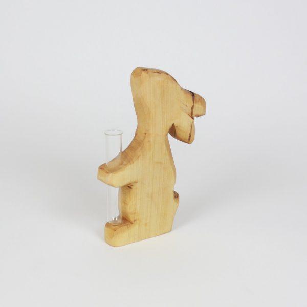 Hase aus Holz mit Reagenzglas