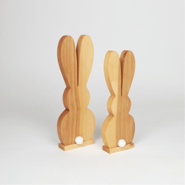 Hase aus Holz mit bommel - Ostergeschenke