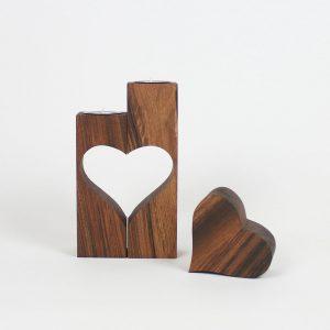 Teelichhalter Design aus Holz mit Herz