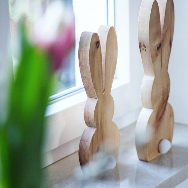 Osterdeko aus Holz Hase