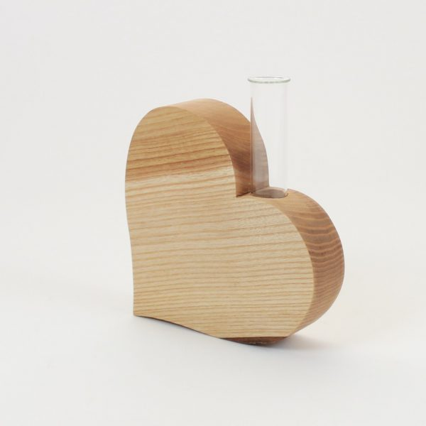 Holzvase Herzdeko