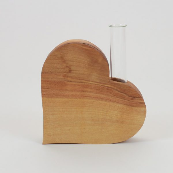 Holzherz mit Glas
