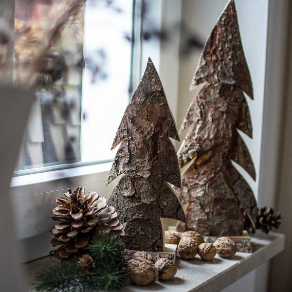 Weihnachtsdeko aus Holz - Rindenholzdeko