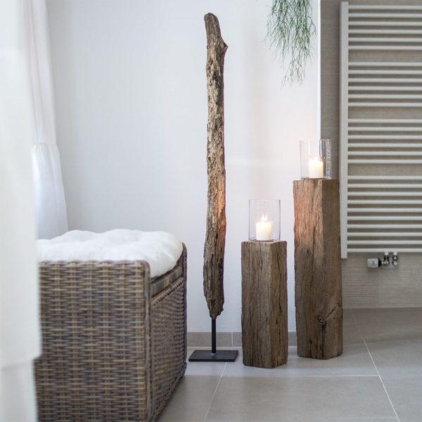 Windlichtsäulen aus Eiche Holz