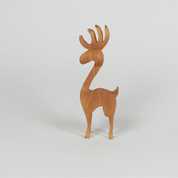 Holzhirsch in 3D Optik - handgemachte Holzdeko bei HInum & Herum