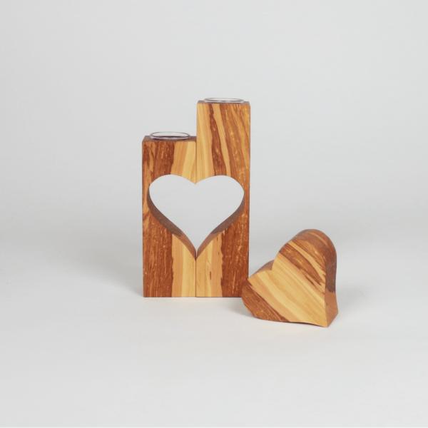 Schönes Geschenk aus Holz - Teelichthalter mit Herz