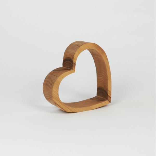 Tischdekoration aus Holz Herz