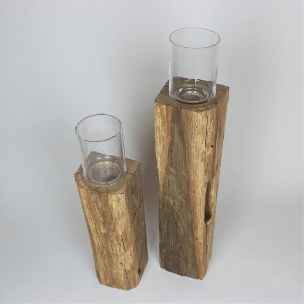 Unikat Altholzbalken - mit Glasaufsatz